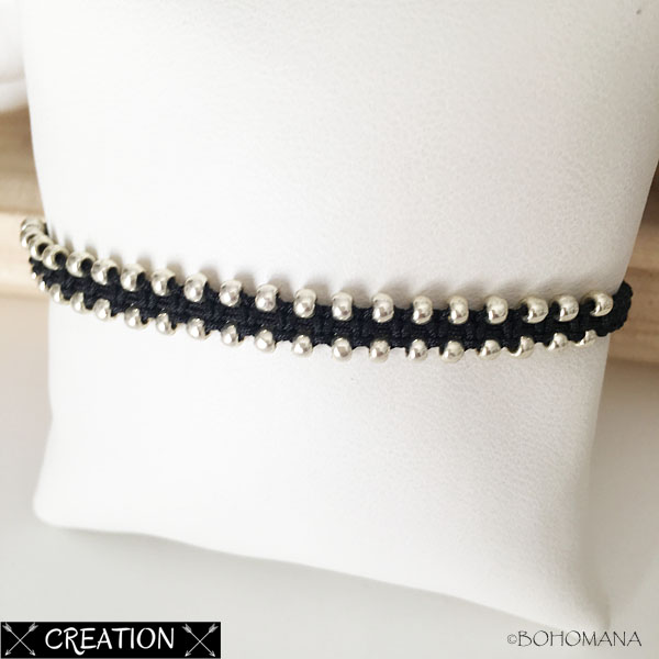 Bracelet création macramé noir