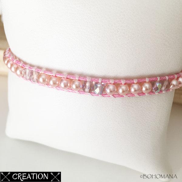 Bracelet wrap création rose