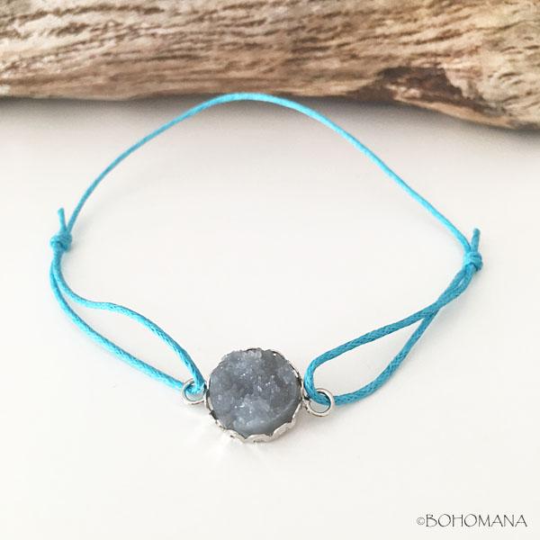 Bracelet coulissant pierre bleu