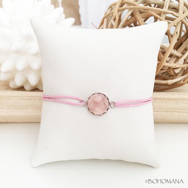 Bracelet coulissant pierre rose