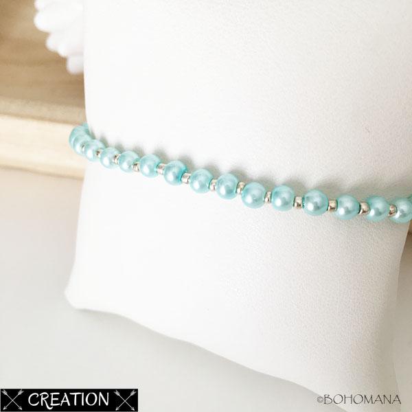 Bracelet création perles bleues
