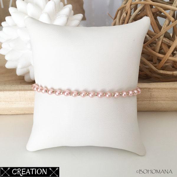 Bracelet création perles roses