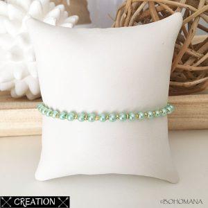 Bracelet création perles vertes