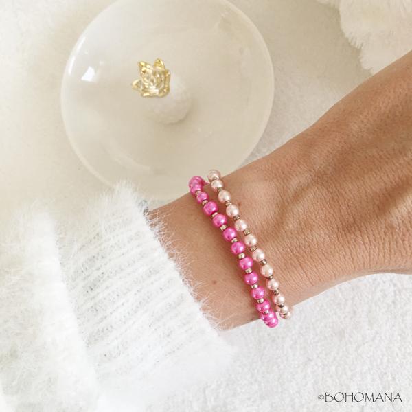Bracelet création perles fushia