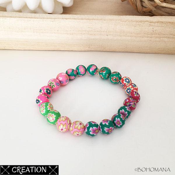 Bracelet création perles colorées
