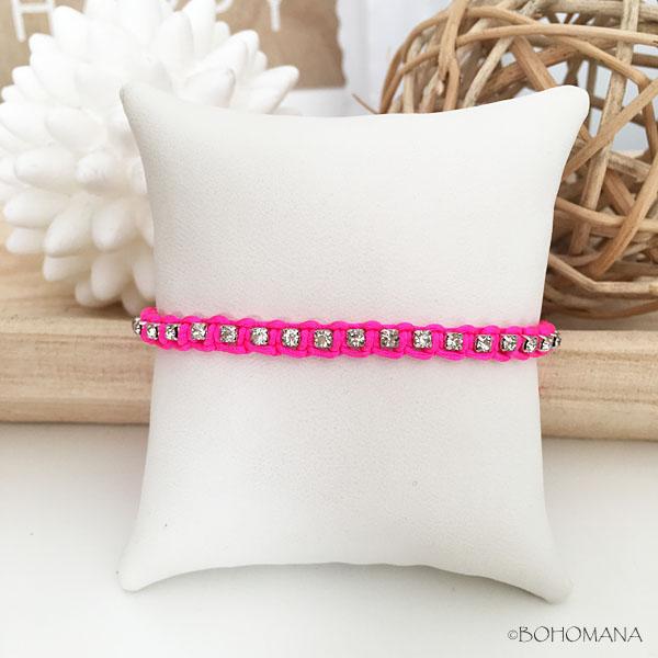 Bracelet coulissant rose cristaux