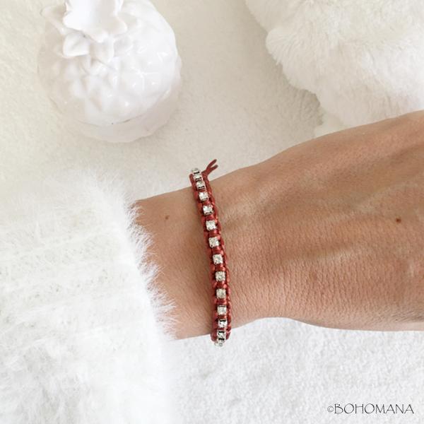 Bracelet coulissant rouge cristaux