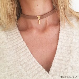 Choker marron suédine triangle