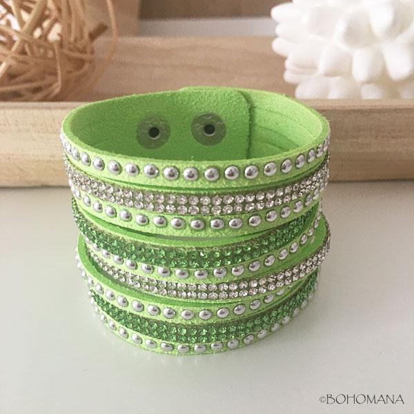 Bracelet manchette strass anis