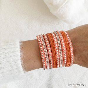 Bracelet manchette strass orange