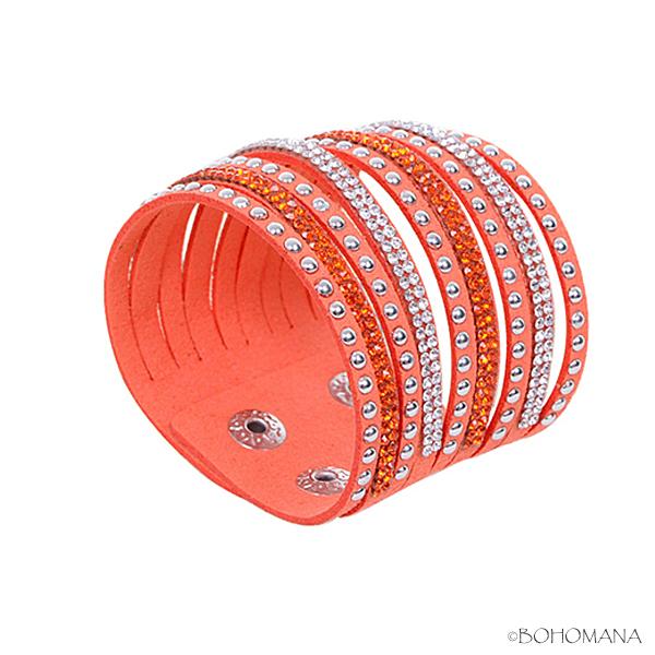 Bracelet manchette strass orange