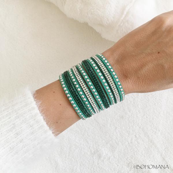 Bracelet manchette strass vert