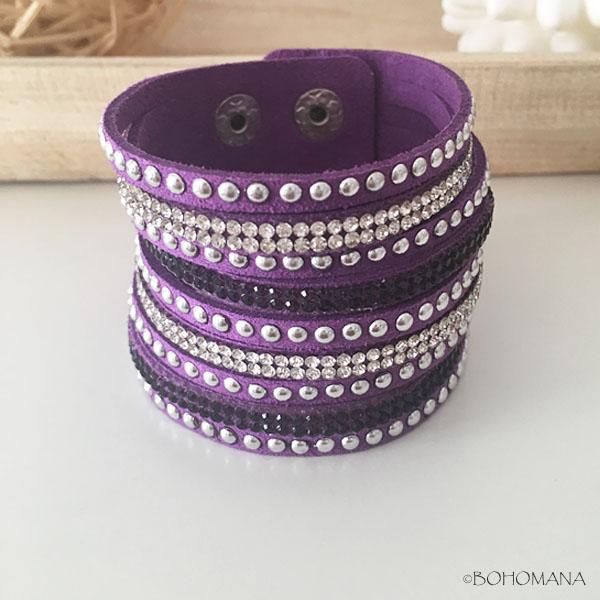 Bracelet manchette strass violet