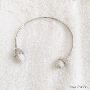 Bracelet jonc argent marbre